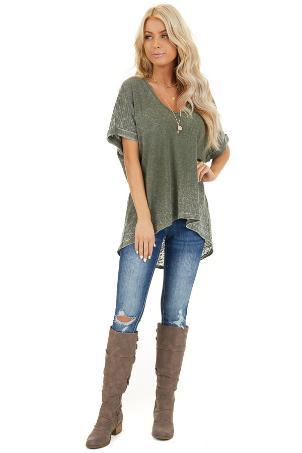 Faded Olive Waffle Knit Short Sleeve Top with Round Neckline front full body