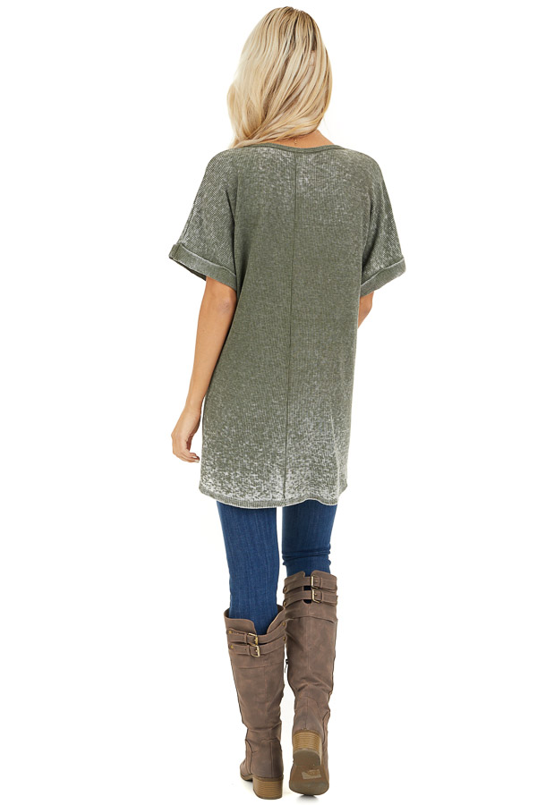 Faded Olive Waffle Knit Short Sleeve Top with Round Neckline back full body