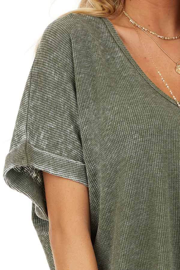 Faded Olive Waffle Knit Short Sleeve Top with Round Neckline detail