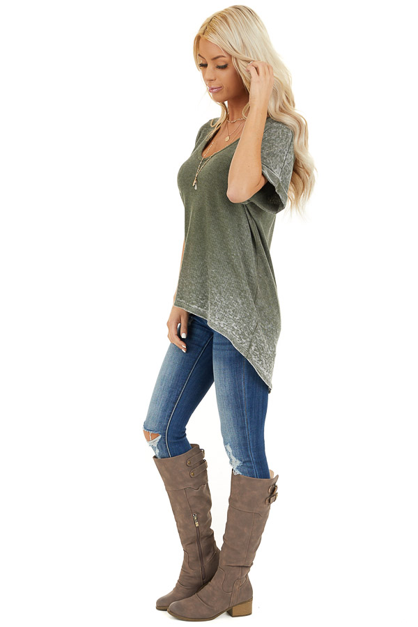 Faded Olive Waffle Knit Short Sleeve Top with Round Neckline side full body