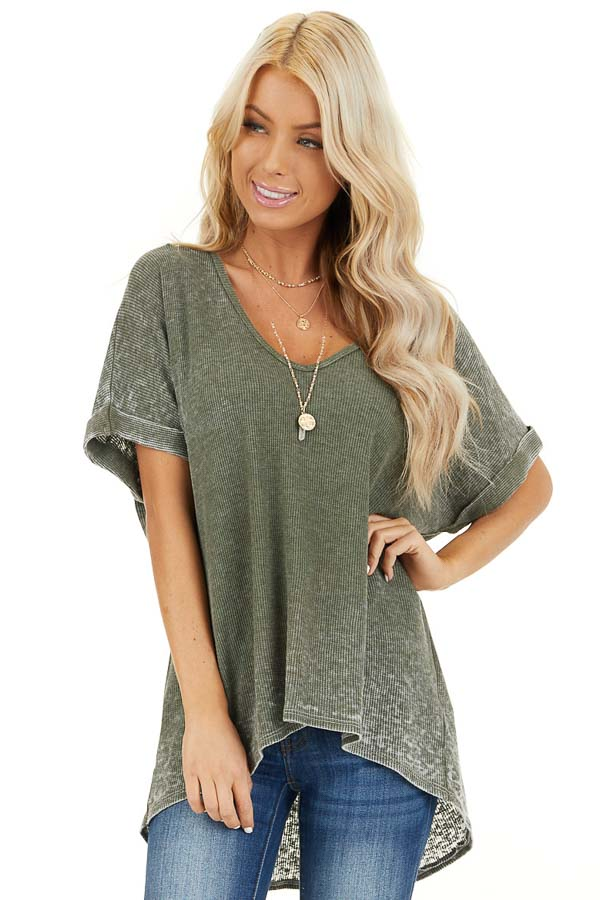 Faded Olive Waffle Knit Short Sleeve Top with Round Neckline front close up