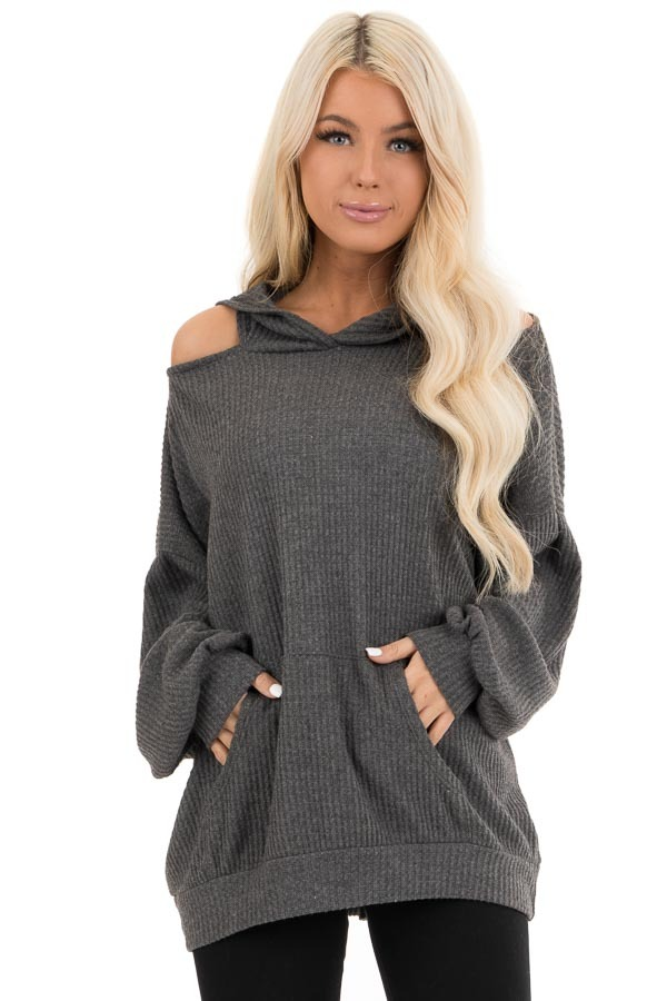 Charcoal Cold Shoulder Hooded Top with Kangaroo Pocket front close up