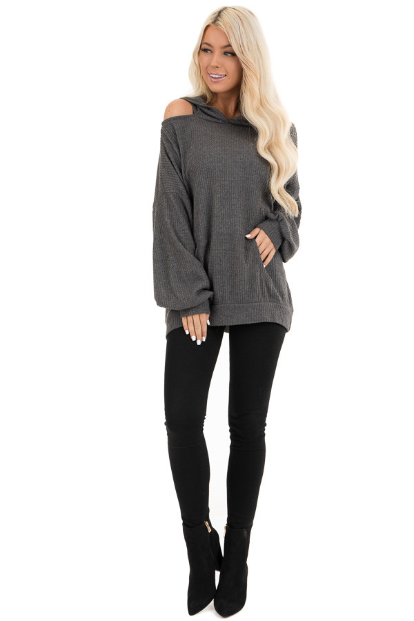 Charcoal Cold Shoulder Hooded Top with Kangaroo Pocket front full body