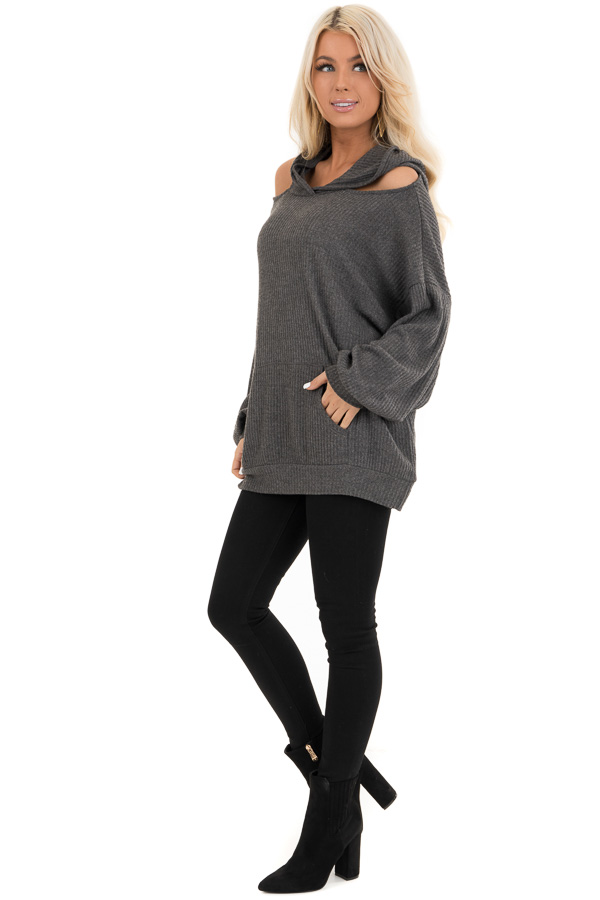 Charcoal Cold Shoulder Hooded Top with Kangaroo Pocket side full body