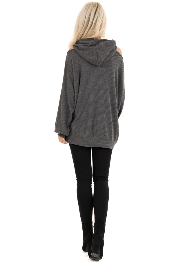 Charcoal Cold Shoulder Hooded Top with Kangaroo Pocket back full body