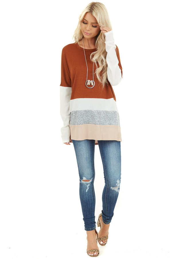 Rust Color Block Long Sleeve Top with Rounded Neckline front full body
