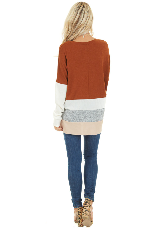 Rust Color Block Long Sleeve Top with Rounded Neckline back full body