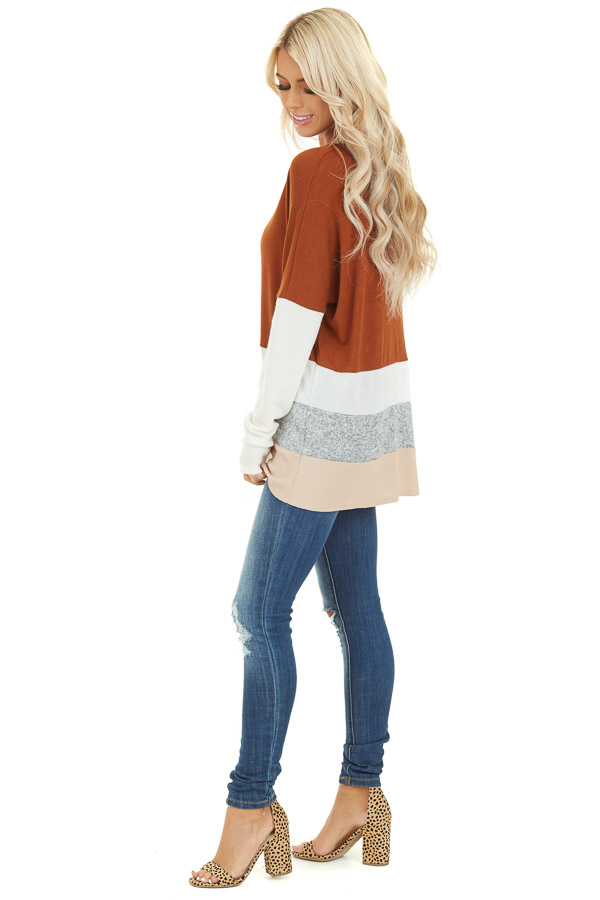 Rust Color Block Long Sleeve Top with Rounded Neckline side full body