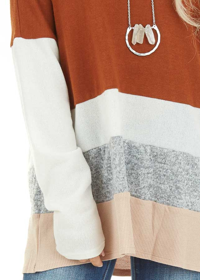 Rust Color Block Long Sleeve Top with Rounded Neckline detail