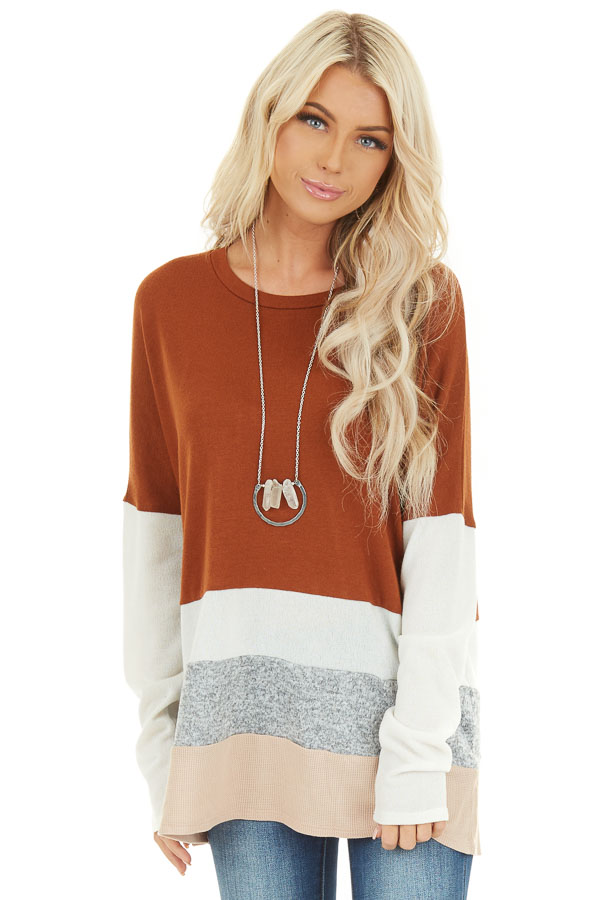 Rust Color Block Long Sleeve Top with Rounded Neckline front close up