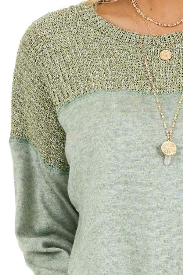 Pistachio Long Sleeve Top with Sweater Knit Contrast detail