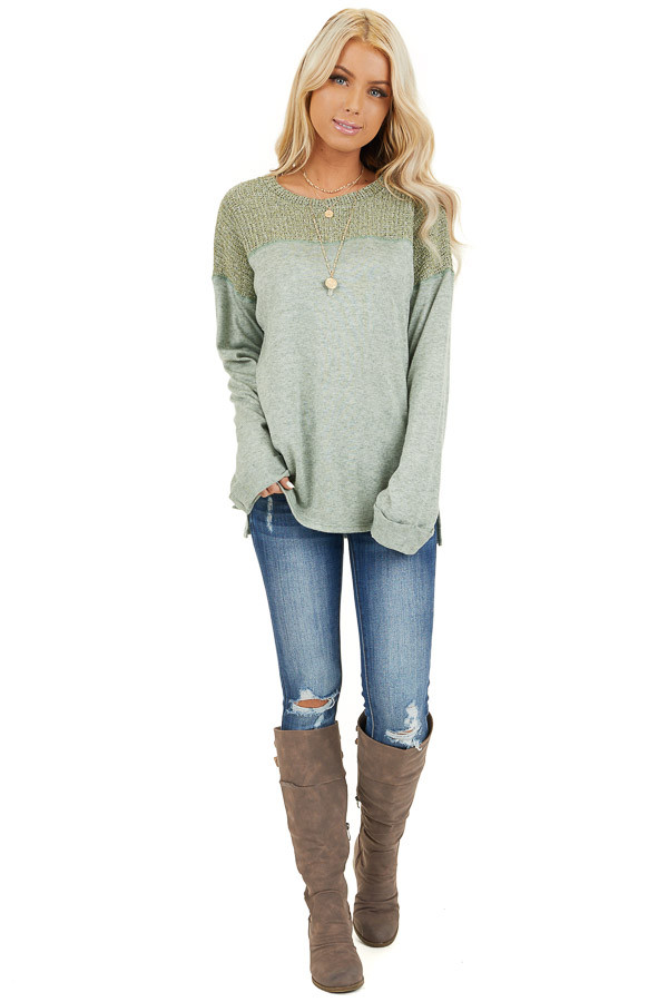 Pistachio Long Sleeve Top with Sweater Knit Contrast front full body