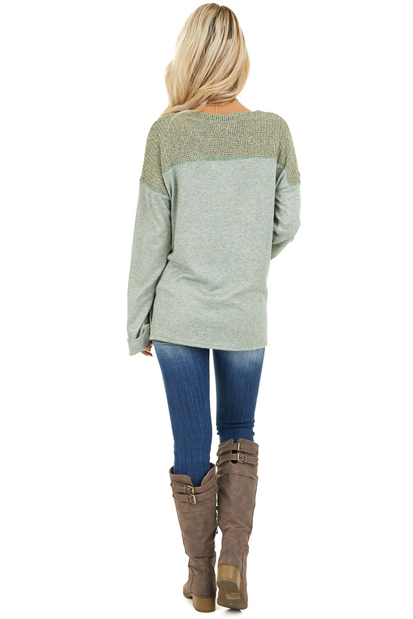Pistachio Long Sleeve Top with Sweater Knit Contrast back full body