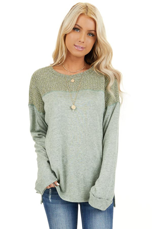 Pistachio Long Sleeve Top with Sweater Knit Contrast front close up