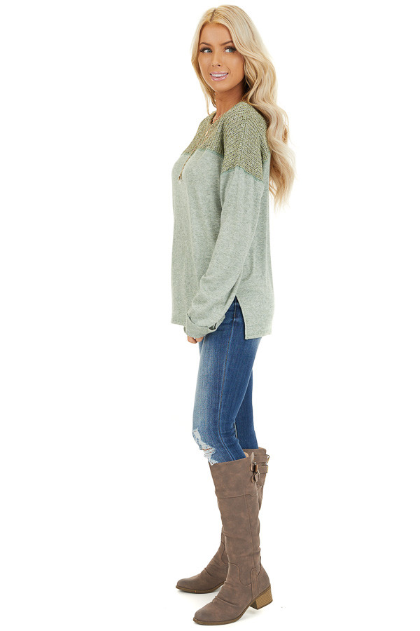 Pistachio Long Sleeve Top with Sweater Knit Contrast side full body