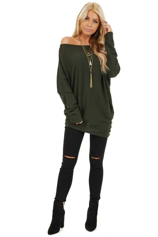 Olive Green Off the Shoulder Long Sleeve Asymmetrical Top front full body