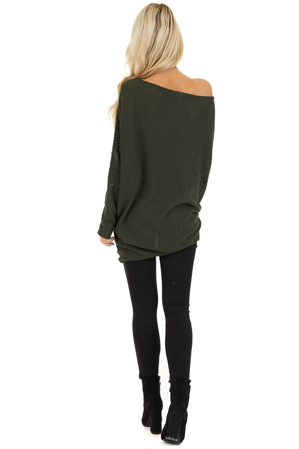 Olive Green Off the Shoulder Long Sleeve Asymmetrical Top back full body