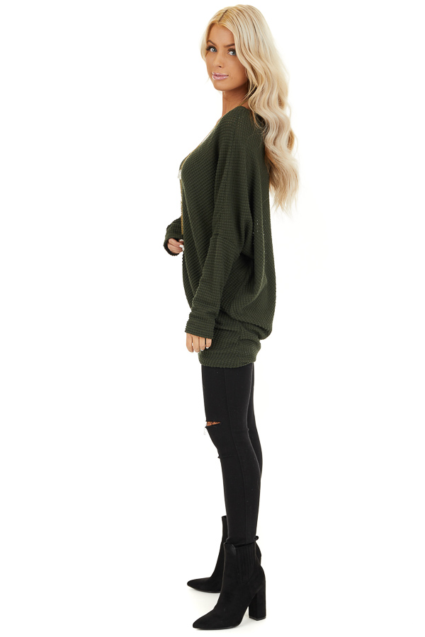 Olive Green Off the Shoulder Long Sleeve Asymmetrical Top side full body