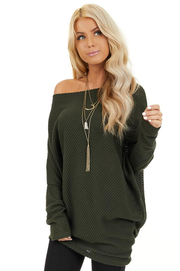 Olive Green Off the Shoulder Long Sleeve Asymmetrical Top front close up