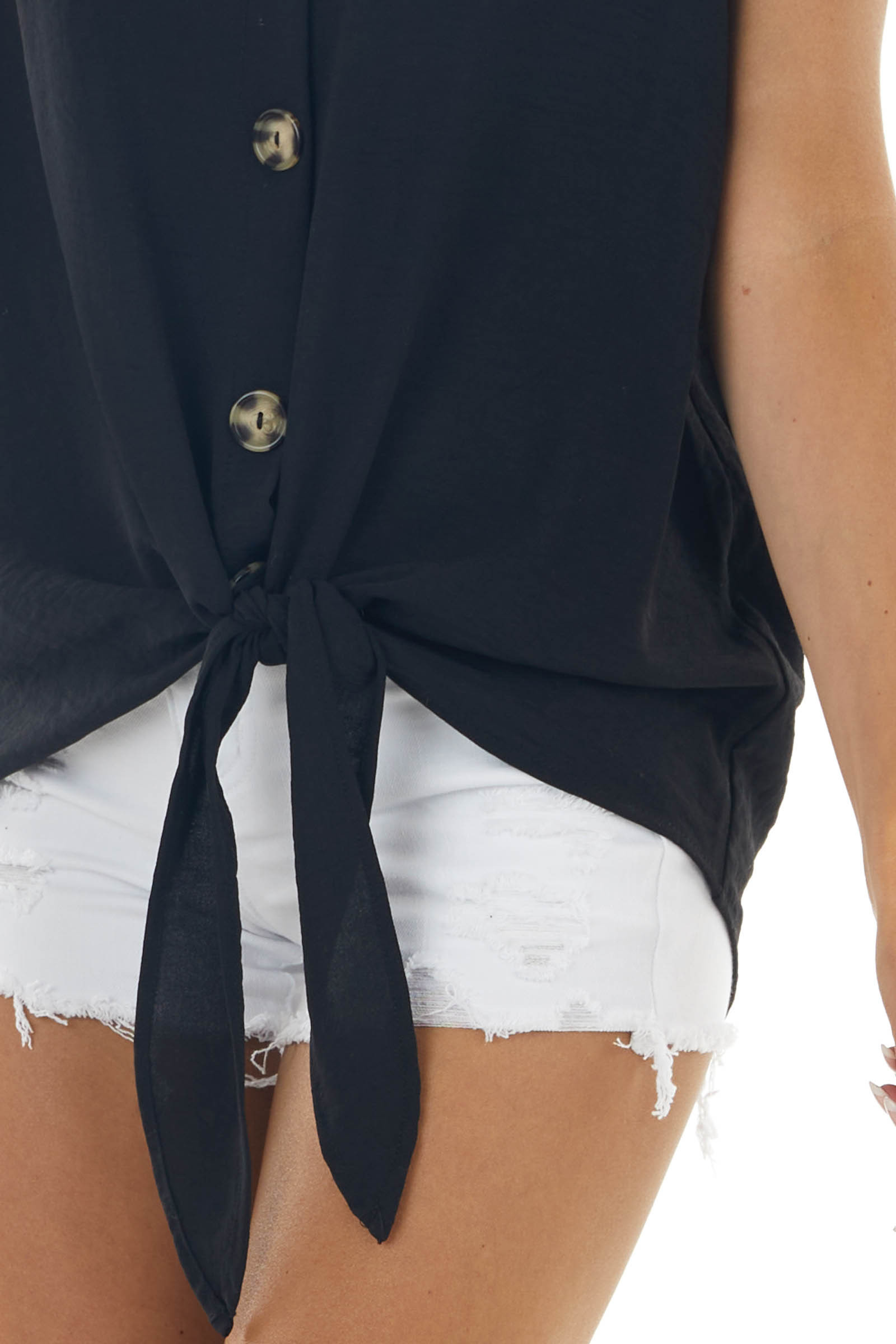 Black Button Up Woven Top with Front Tie Detail