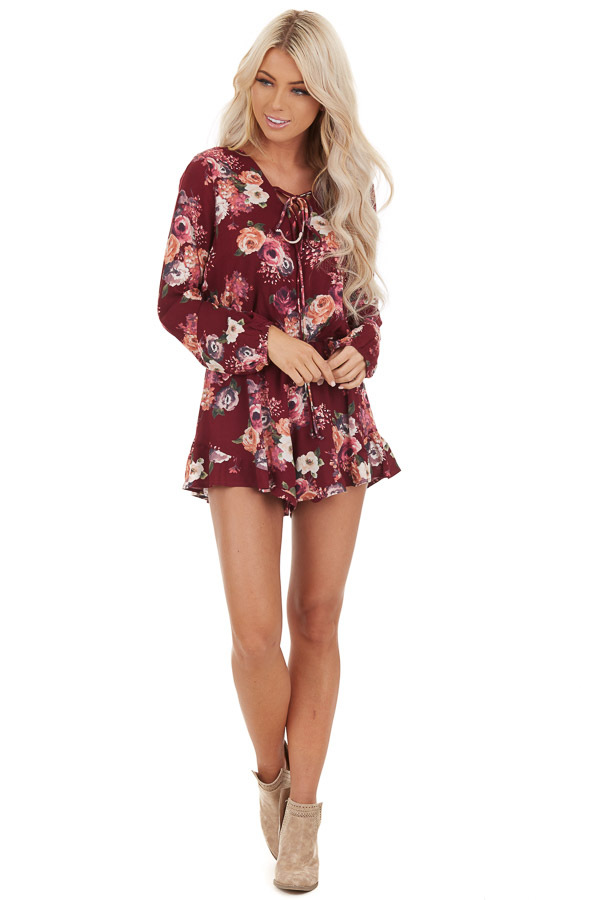 Maroon Floral Romper with Long Sleeves and Ruffle Detail front full body
