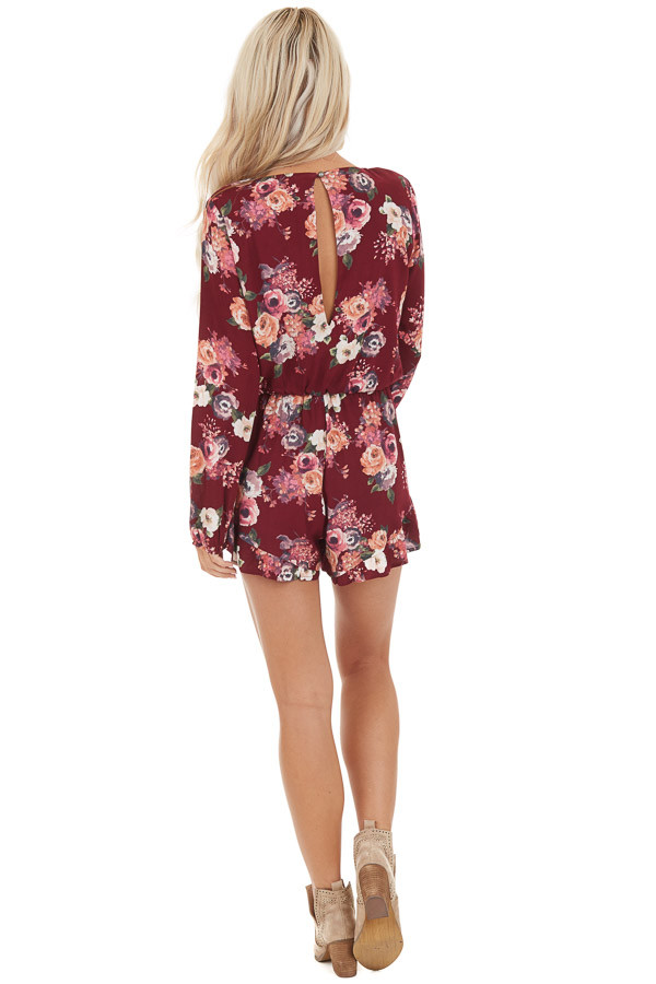 Maroon Floral Romper with Long Sleeves and Ruffle Detail back full body