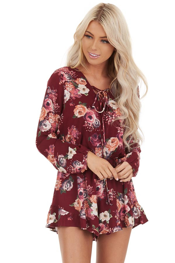 Maroon Floral Romper with Long Sleeves and Ruffle Detail front close up