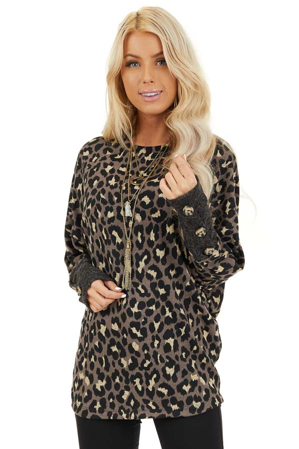 Mocha and Black Leopard Print Top with Button Cuff Details front close up