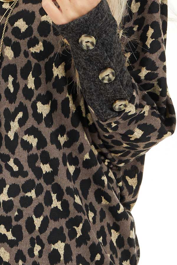 Mocha and Black Leopard Print Top with Button Cuff Details detail