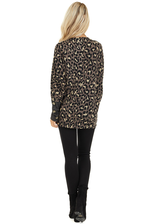 Mocha and Black Leopard Print Top with Button Cuff Details back full body