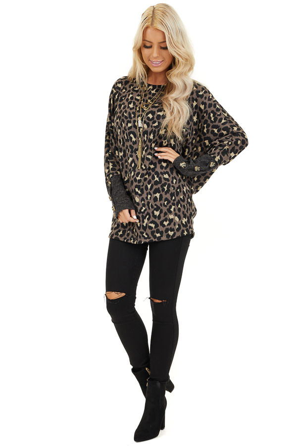Mocha and Black Leopard Print Top with Button Cuff Details front full body