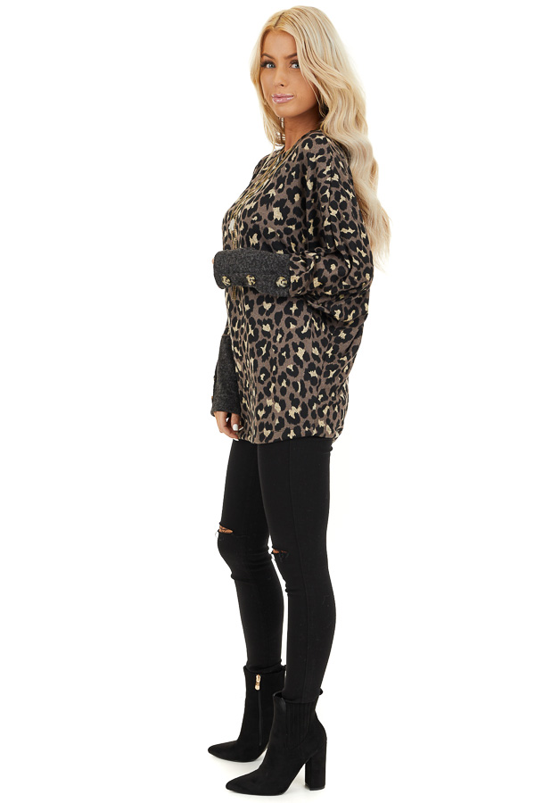Mocha and Black Leopard Print Top with Button Cuff Details side full body