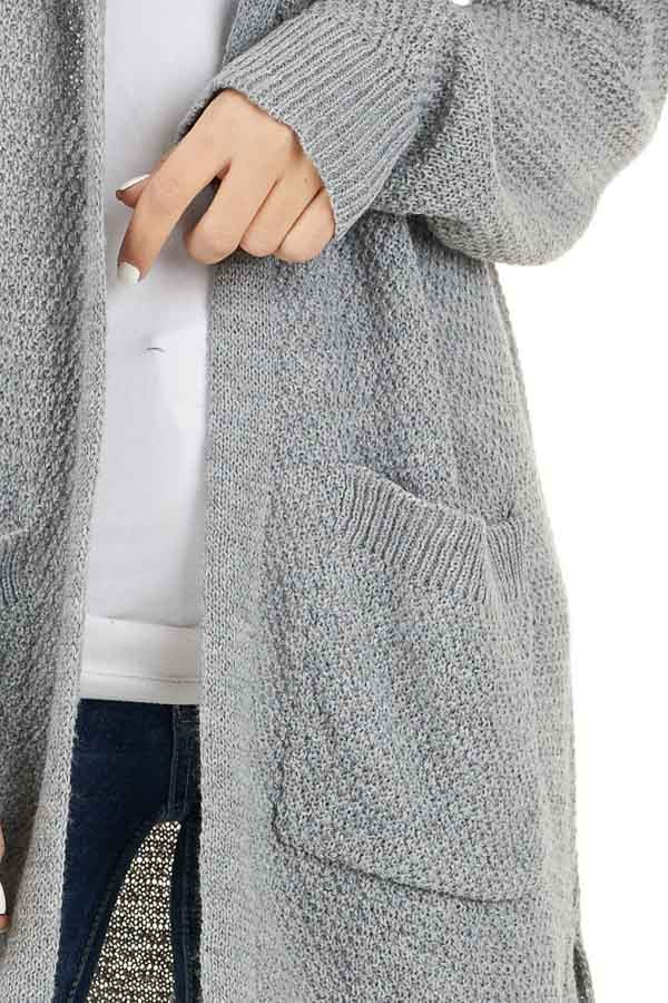 Dove Grey Hooded Cardigan with Side Pockets detail