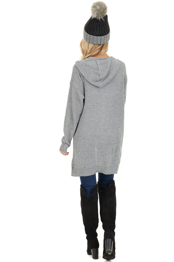 Dove Grey Hooded Cardigan with Side Pockets back full body