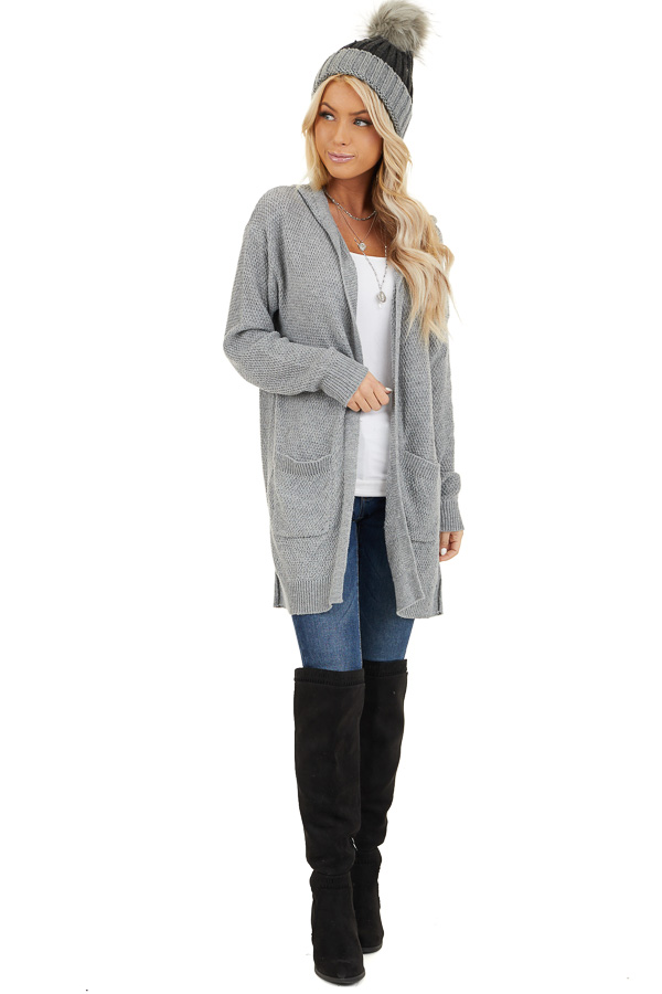Dove Grey Hooded Cardigan with Side Pockets front full body