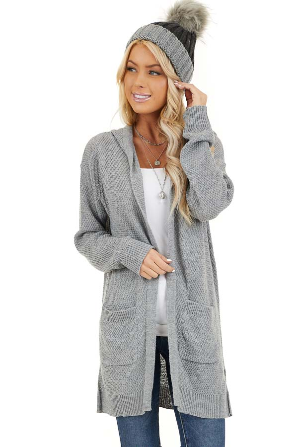 Dove Grey Hooded Cardigan with Side Pockets front close up