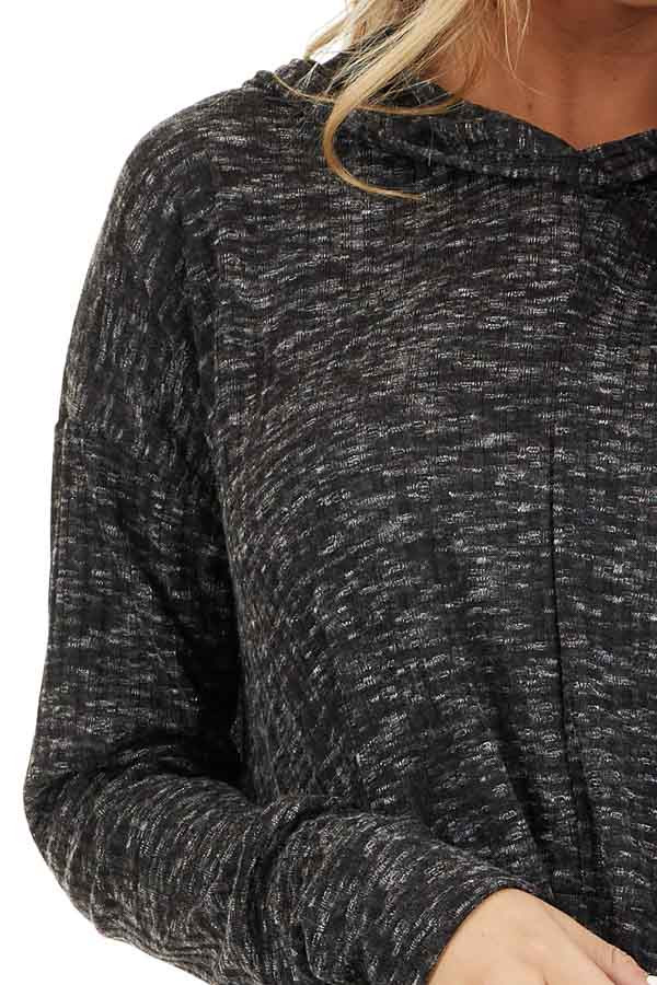 Heathered Charcoal Long Sleeve Top with Hood Detail detail