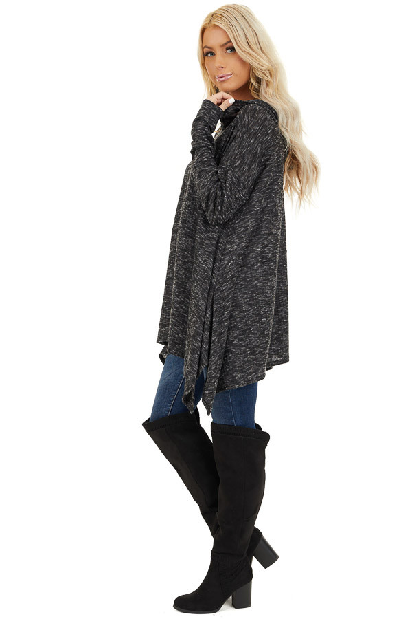 Heathered Charcoal Long Sleeve Top with Hood Detail side full body