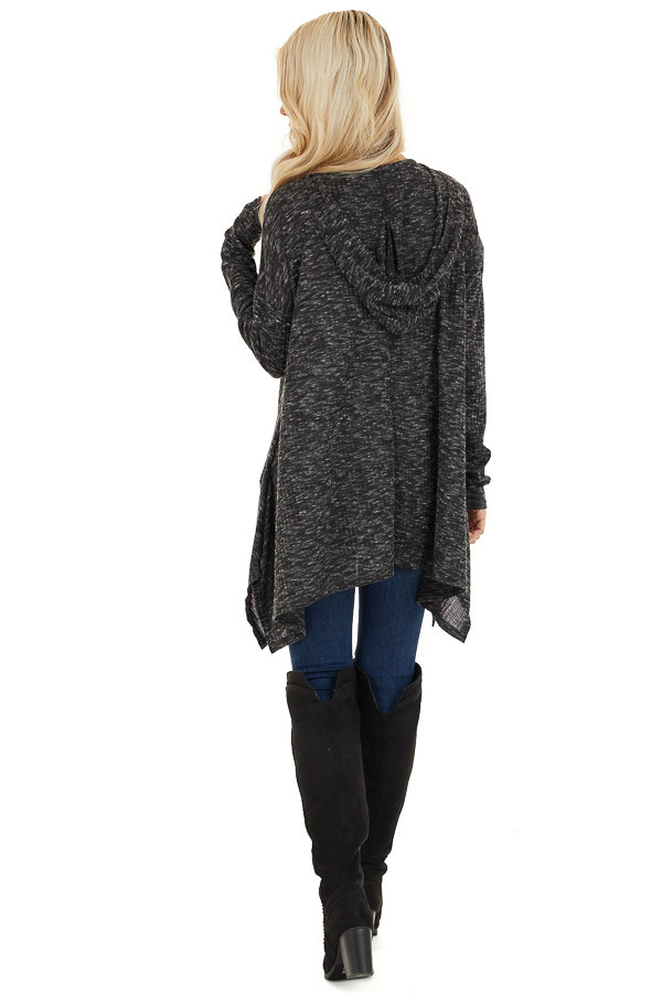 Heathered Charcoal Long Sleeve Top with Hood Detail back full body
