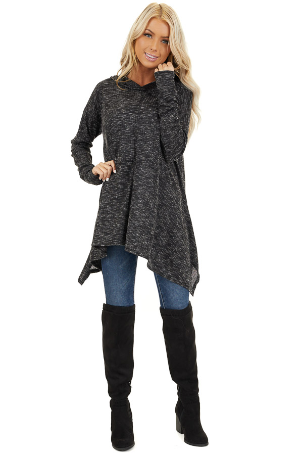 Heathered Charcoal Long Sleeve Top with Hood Detail front full body