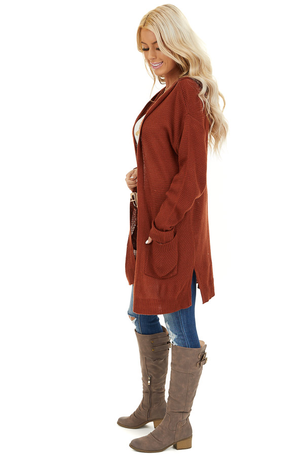 Rust Hooded Cardigan with Side Pockets side full body