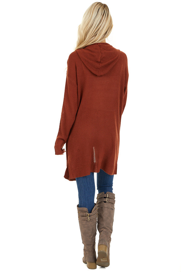 Rust Hooded Cardigan with Side Pockets back full body
