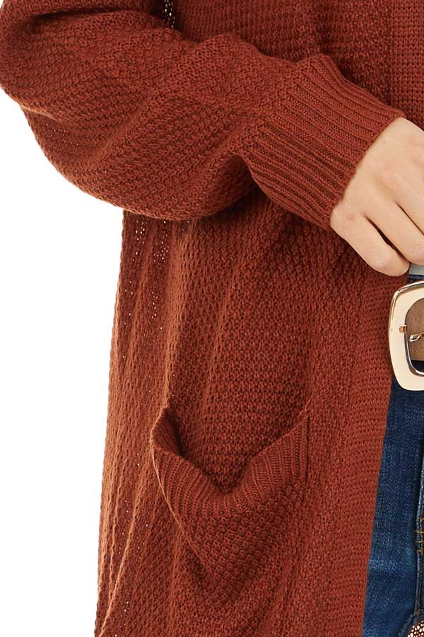 Rust Hooded Cardigan with Side Pockets detail