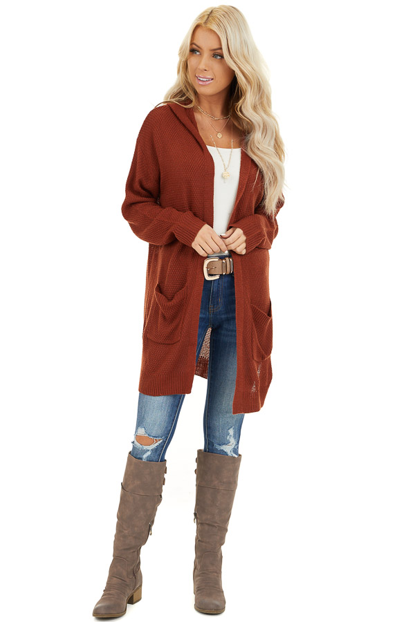 Rust Hooded Cardigan with Side Pockets front full body