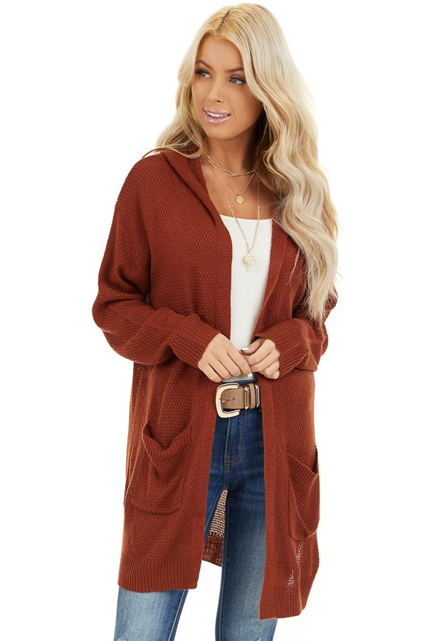 Rust Hooded Cardigan with Side Pockets front close up