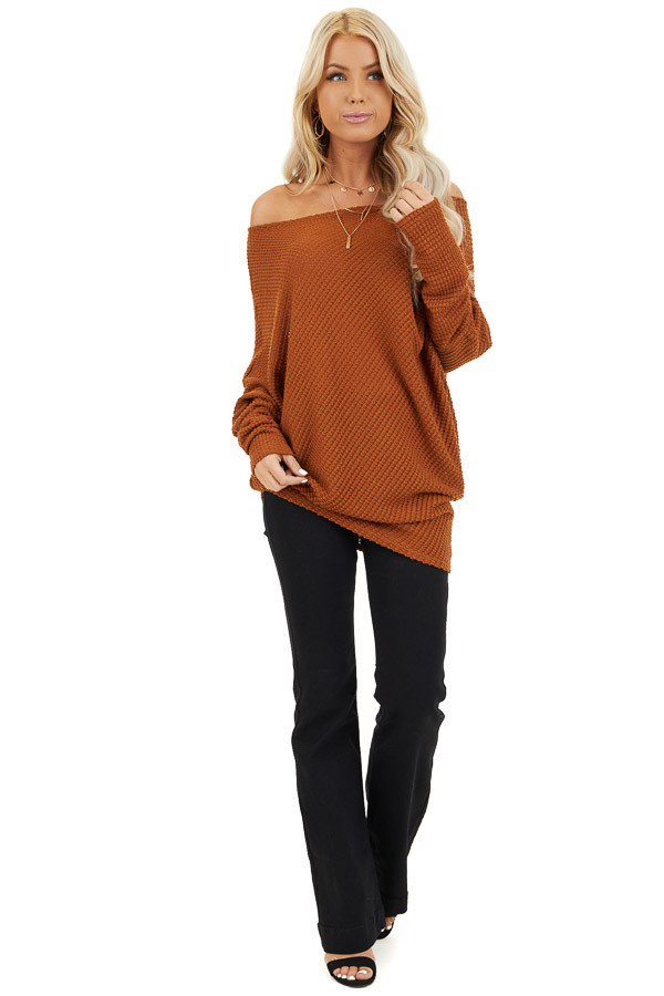 Cognac Textured Knit Off the Shoulder Asymmetrical Top front full body
