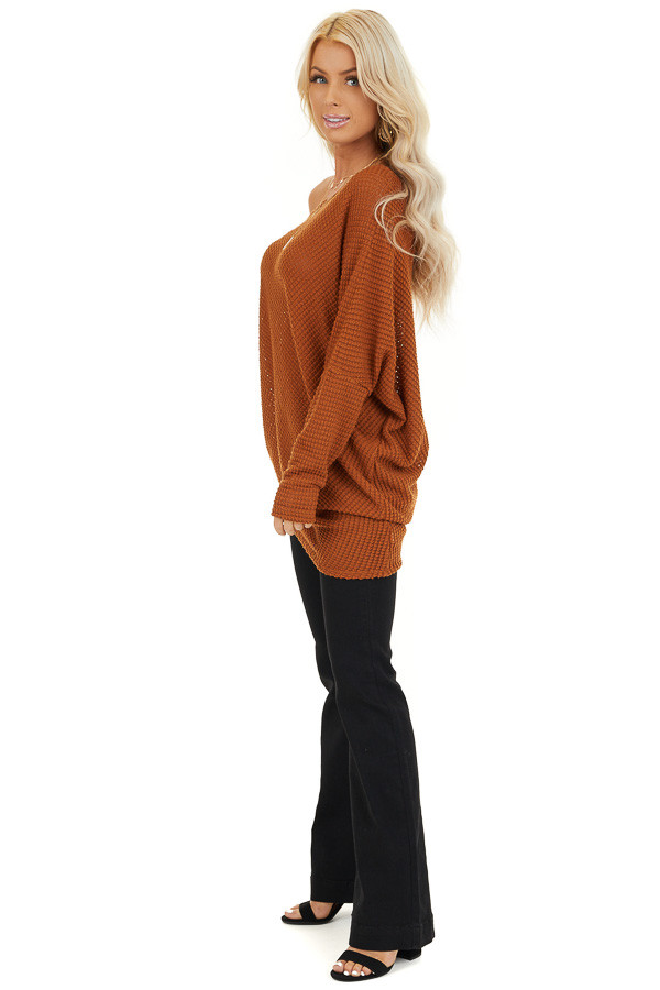 Cognac Textured Knit Off the Shoulder Asymmetrical Top side full body