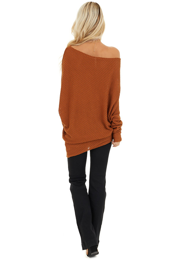 Cognac Textured Knit Off the Shoulder Asymmetrical Top back full body