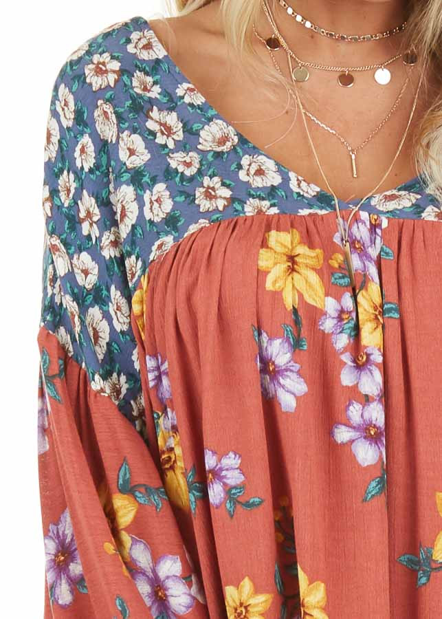 Rust Floral Print V Neck Top with Long Balloon Sleeves detail