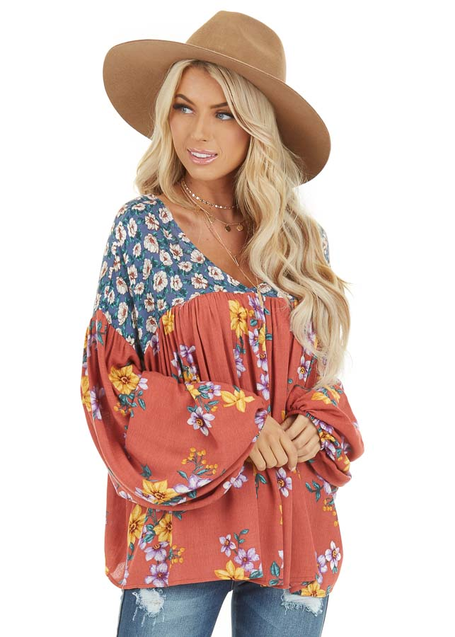 Rust Floral Print V Neck Top with Long Balloon Sleeves front close up